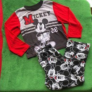 Disney Boys' Mickey long sleeve & pant pj-size M